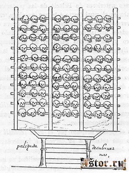 Цомпантли - стена черепов