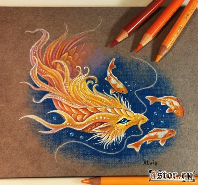 дракончик и рыбки